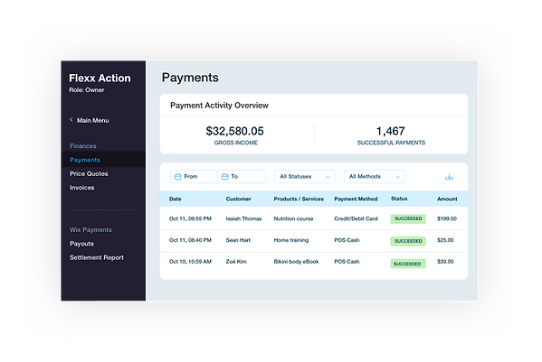 Track online and in-person POS payments through your dashboard
