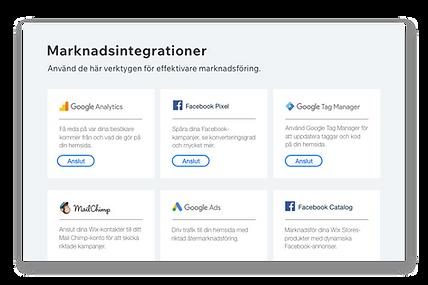 Ikoner och beskrivningar av 6 populära marknadsföringsverktyg.