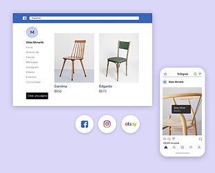 Tienda online de Wix de venta de sillas en múltiples canales como Facebook e Instagram