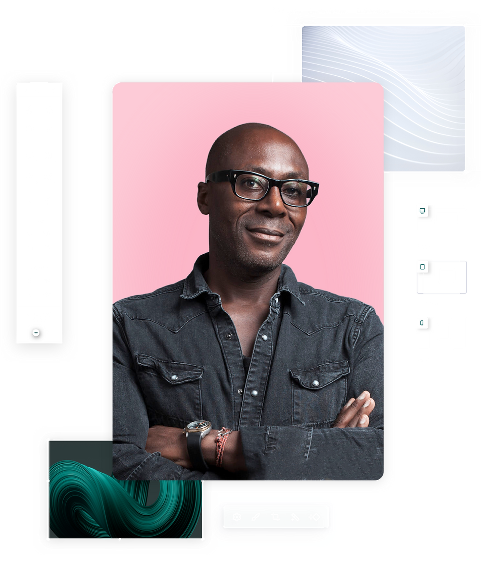 Website graphic design with image of a man