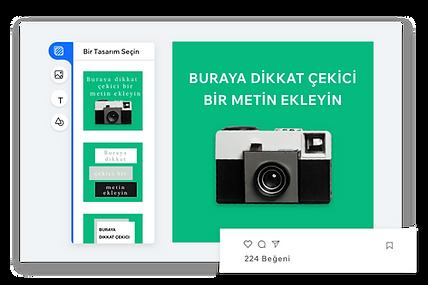 Kendi sosyal medya paylaşımlarınızı oluşturmak için bir editör ve editörde gözüken yeşil bir arka plana sahip eski bir kamera.