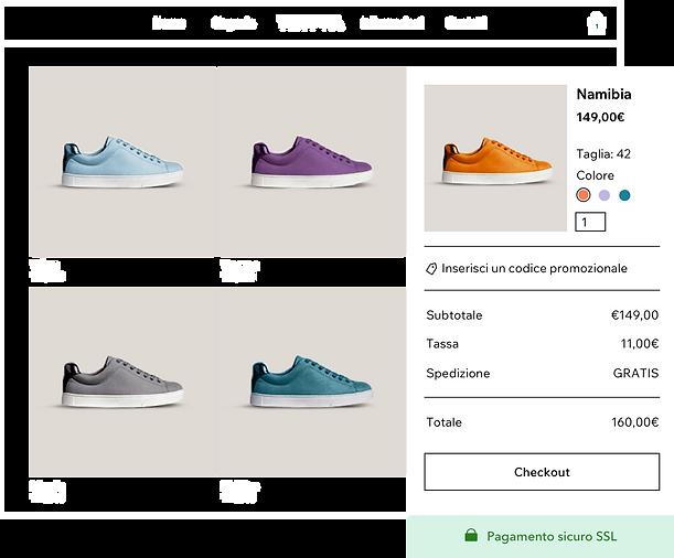 galleria di prodotti del negozio di scarpe online con diverse varianti di scarpe da ginnastica e carrello e checkout sicuri di Wix Payments.