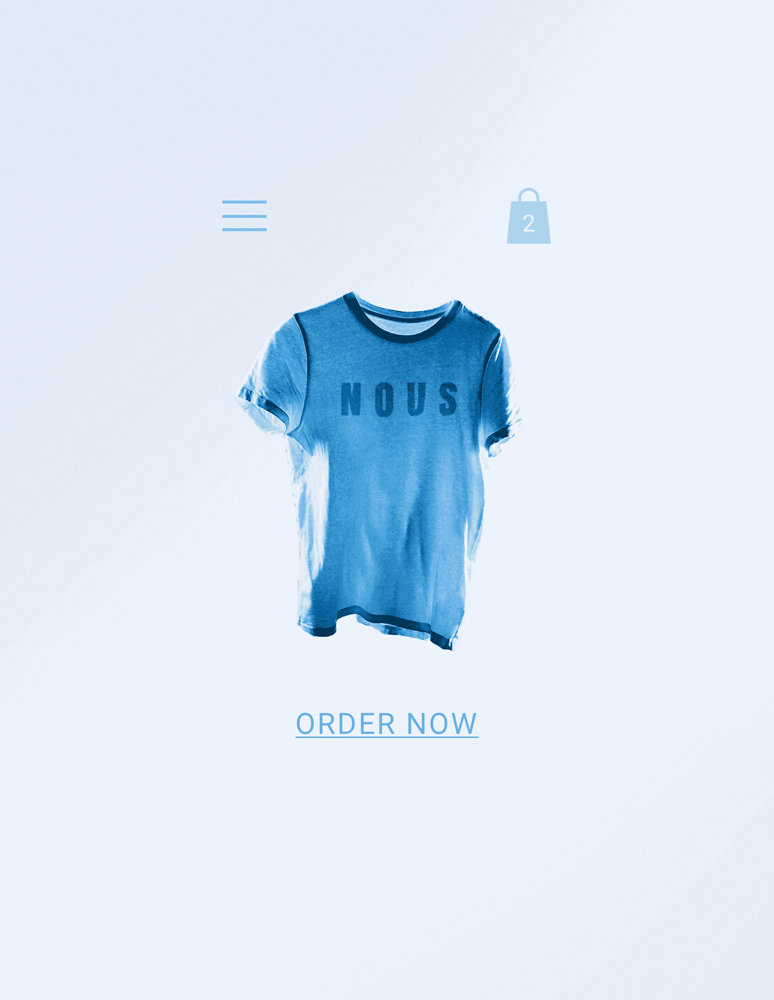 """Blue T-shirt with the word """"Nous"""" sold on a Wix eCommerce store with shopping cart and menu icons and an """"Order Now"""" button"""