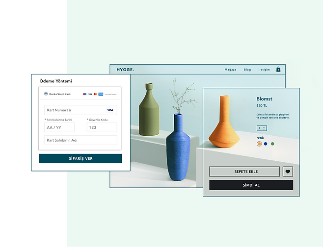 Ev dekorasyonu online mağazası, Wix'te kredi kartı ödemesi ve turuncu bir vazo için ürün sayfası.