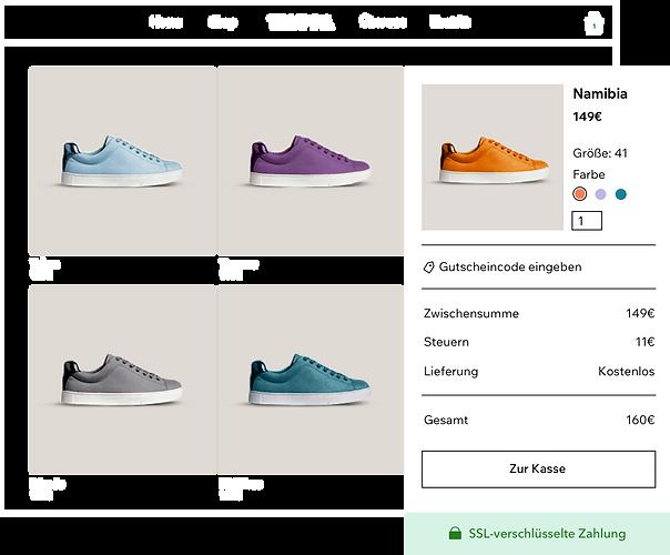Online-Schuhgeschäft-Produktgalerie mit verschiedenen Turnschuhen und dem sicheren Warenkorb und Bezahlvorgang von Wix Payments.