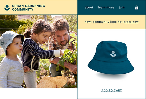 Print on demand hat sold by a gardening community