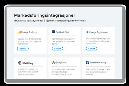 Ikoner og beskrivelser av seks populære markedsføringsverktøy
