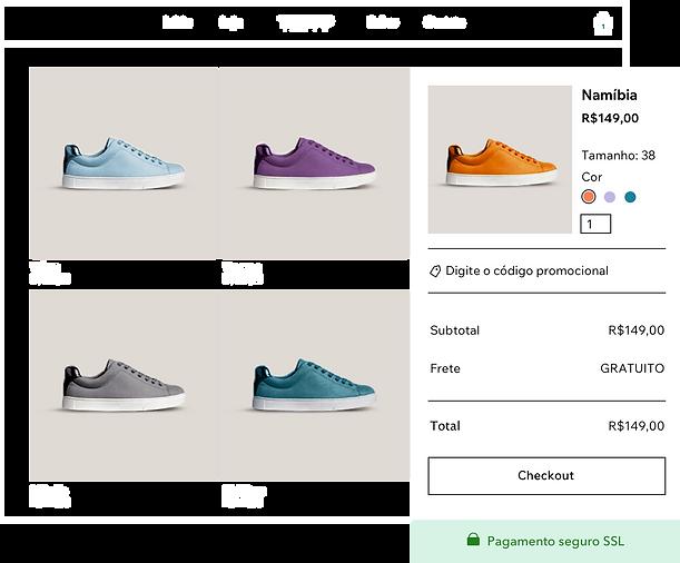 galeria de produtos da loja de calçados on-line com diferentes variantes de tênis e carrinho e checkout seguros para pagamentos Wix. Galeria de produtos de uma loja de calçados online com vários tipos de tênis, e carrinho de compras e checkout do Wix Pagamentos.