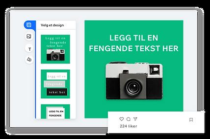 Redigeringsverktøy for opprettelse av dine egne sosiale innlegg med en grønn bakgrunn og et vintage-kamera