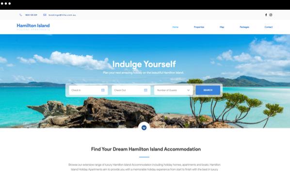 Strona główna strony internetowej Hamilton Island Holiday Apartments.