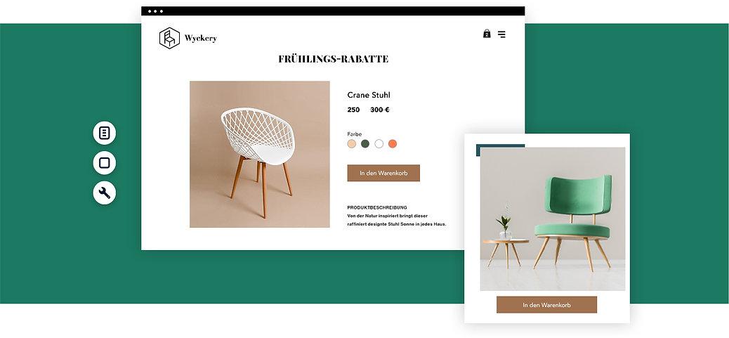 Produktseite eines Online-Möbelgeschäftes mit Bilden von Sesseln.