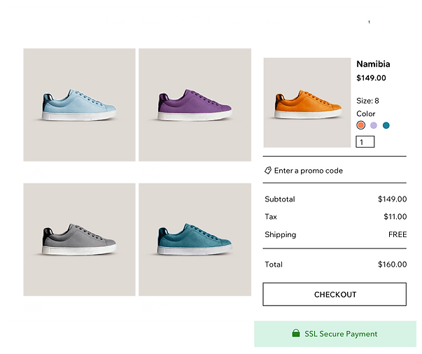 online shoe store product gallery with different sneaker variants and Wix Payments' secure cart and checkout.