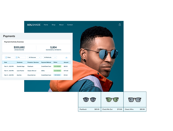 SolShade retail online store featuring Wix dashboard payment table, storefront with stylish man and product gallery of 3 sunglasses.