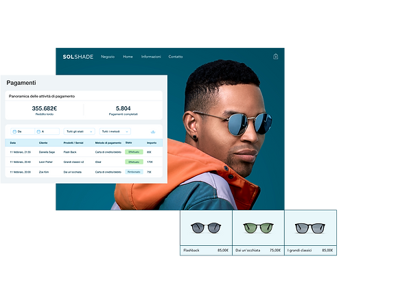 SolShade negozio online al dettaglio con tabella di pagamento del pannello di controllo Wix, vetrina con uomo elegante e galleria di prodotti di 3 occhiali da sole.