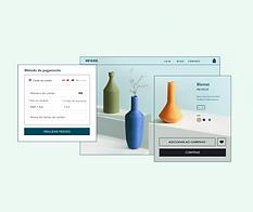 Loja online de decoração para casa, opções de processadores de pagamento Wix e página de produto de um vaso laranja.