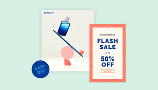 eCommerce flash sale notice, cologne product image and Last Day badge.