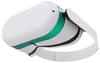 "A screenshot from the Velo platform showing the visual UI Editor and Integrated Development Environment (IDE). The website used in the example is an online store for futuristic tech products. The product shown is a pair of white virtual reality glasses called ""Luno Opv"", with a clickable option to choose a detail stripe in gray, blue, or green."