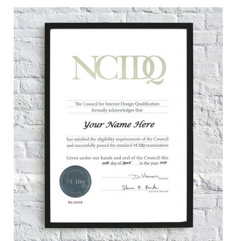 NCIDQ Replacement Certificate CIDQ Certification for Interior