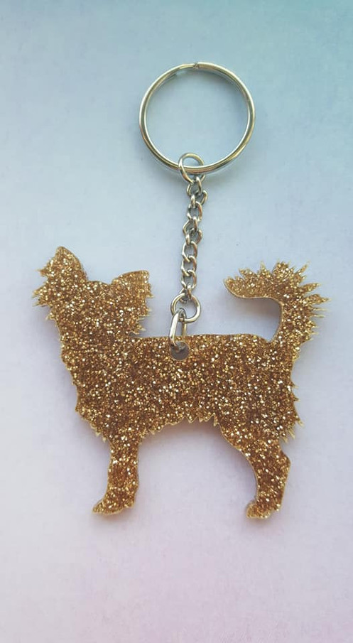 Gold Glitter Longhaired Chihuahua Keyring