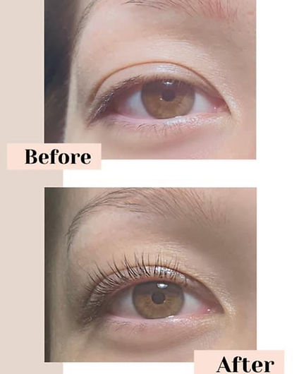 Client's eye before and after a lash lift
