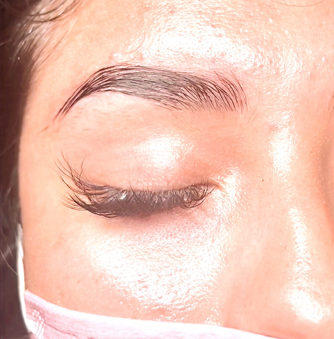 Full, defined eyebrows after a brow lamination and tint service