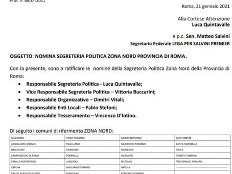 Lega Salvini Premier. Nomina politica per il consigliere Quintavalle.