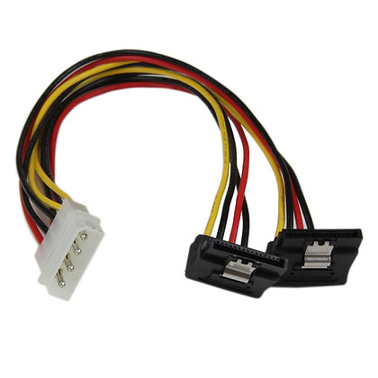 12in LP4 to 2x Right Angle Latching SATA Power Y Cable Adapter