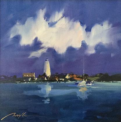 SOLD Ocracoke Lighthouse Twilight