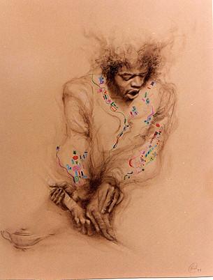 Hendrix saliendo de la lámpara