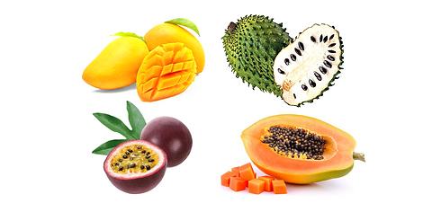 Succhi di frutta disponibili, di Mango, Papaya, guanabana e frutto della passione, anche disponibili con latte.