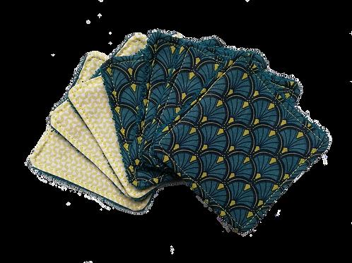 Lot de 7 cotons démaquillants - Baroque bleu/jaune