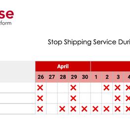 Shipment arrangement during Golden week 2020