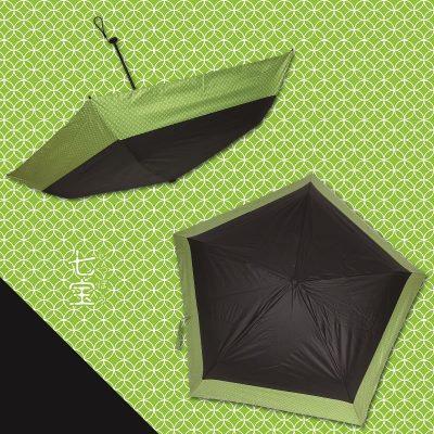 DENTRA Japanese Pattern Foldable Umbrella (Cloisonne and Black)