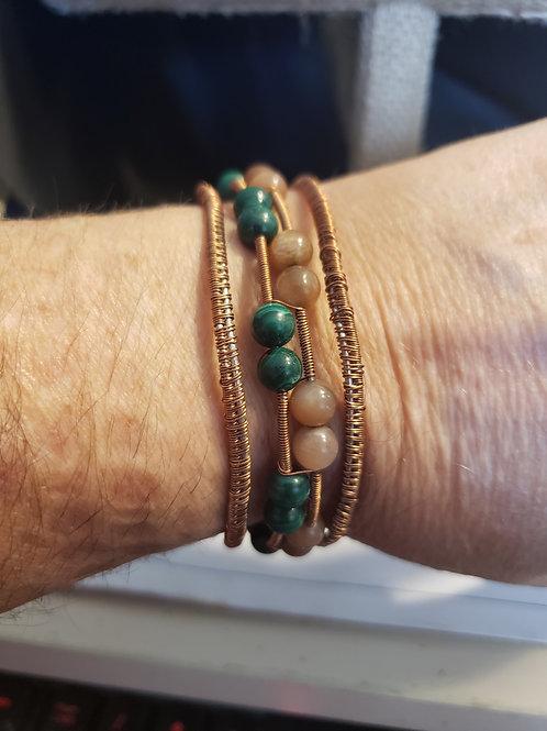 Malachite peach moon stone cuff bracelet