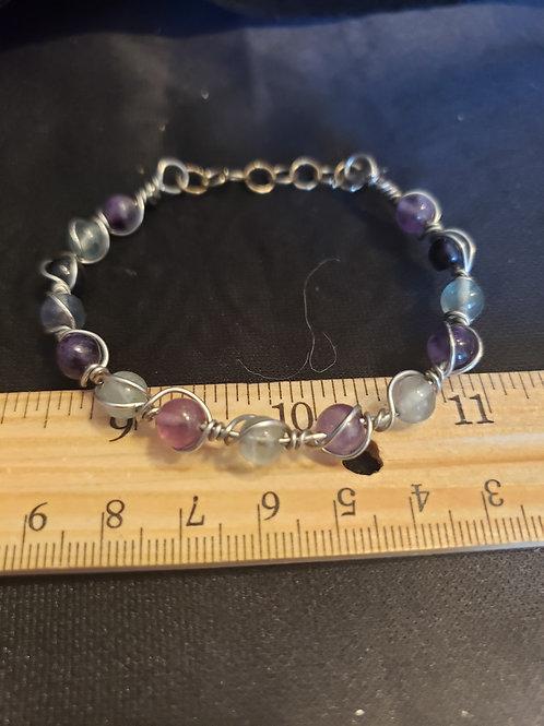 fluorite wire wrapped lobster claw  bracelet