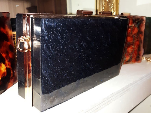 Chriset Stone Clutch in Black