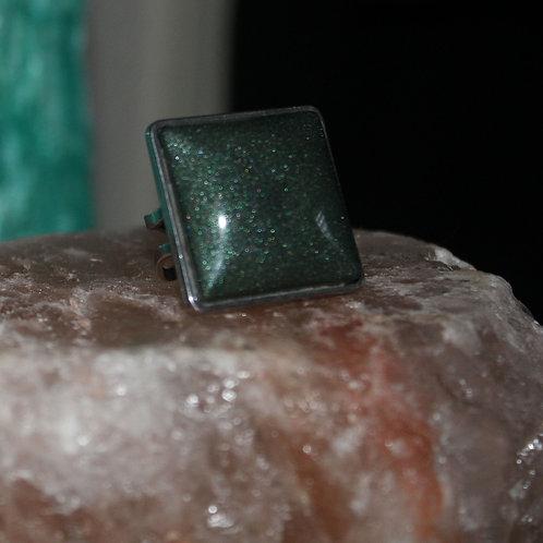Dark Green Silver Ring