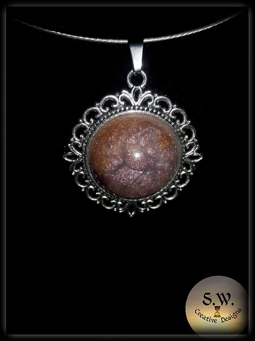 S.W. Sands of Time Crackle Circle Pendant and Necklace