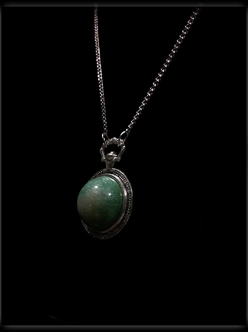S.W. Lady Luck Green Time Watch Pendant and Necklace