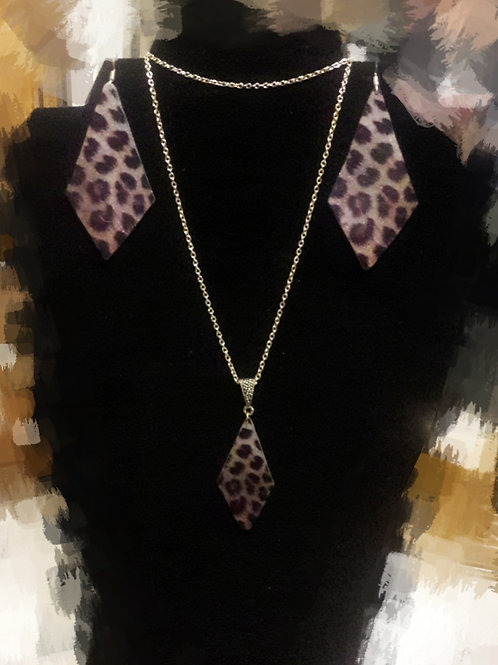Leopard Print Chriset Stone Earrings and Necklace Set