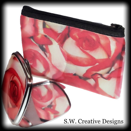 "S.W. ""The Flower that never Dies"" Small Purse and Mirror Compact Set"