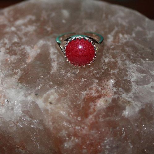 Poppy Red Sterling Silver Ring