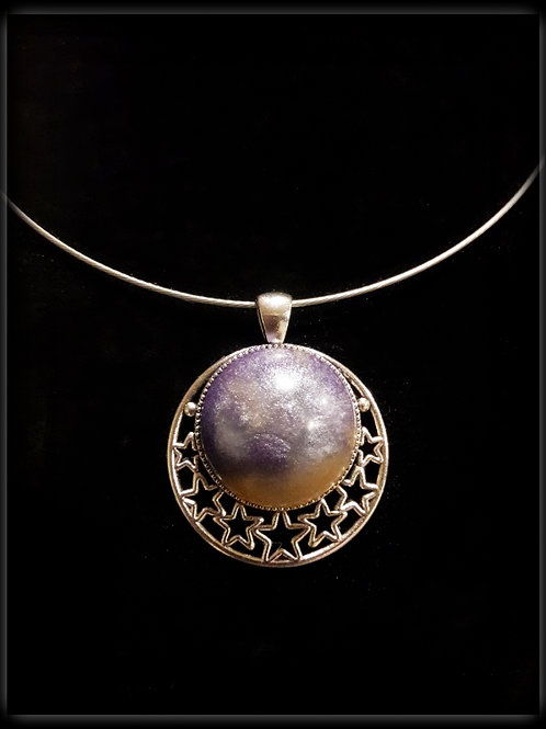 S.W. Moon, Stars, Sunset Crackle Pendant and Necklace
