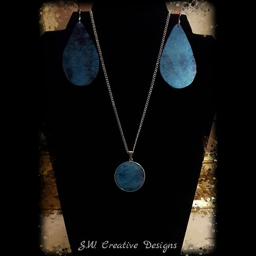 Blue Marble Stone Necklace and Earring Set