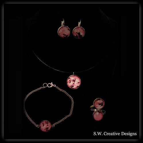 S.W. Pink Camo Jewelry Set