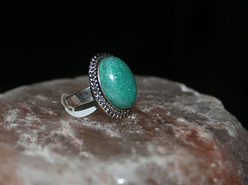 Mermaid Green Antique Silver Ring
