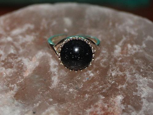 Black Shimmer Sterling Silver Ring