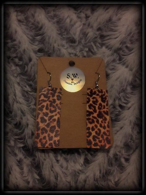 S.W.Leopard Skin Rectangle Drop Dangle Earrings