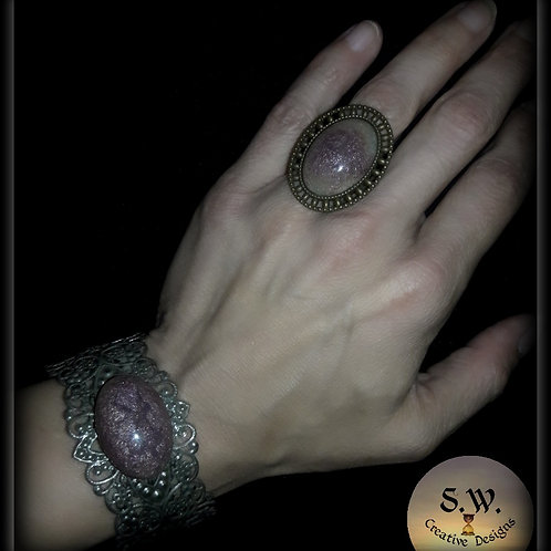 S.W Sands of Time Oval Crackle Ring
