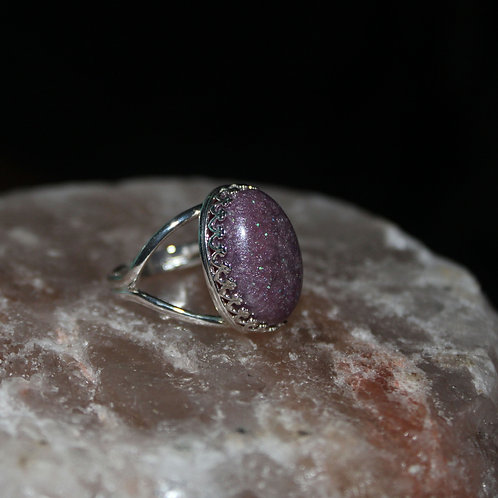 Purple Shimmer Sterling Silver Ring
